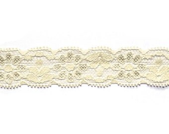 "1"" Lace Elastic Ivory, Stretch Elastic, 5 or 10 Yards"