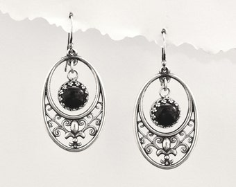 Unique Angeline Quinn Sterling Silver Fleur De Lis and Swirl Earrings with Black Onyx