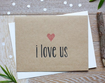 Cute I Love Us Card for Him Or Her. Love You Card. Miss You Card. Valentine's Day.