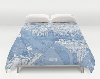 Washington Street Map Duvet Cover - bed - bedroom, travel decor, cozy soft, pastel, winter, warm, wanderlust