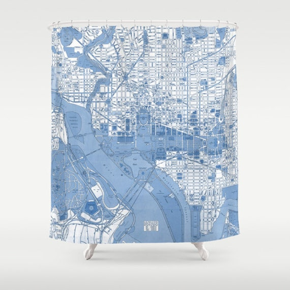 Blueprint Washington DC Vintage map shower curtain - Street map of the Capitol Potomac, historical monuments, the white house, travel decor,