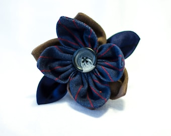Doctor Who Inspired Hair Fascinator - Tenth Doctor, Blue Pinstripe, Whovian,
