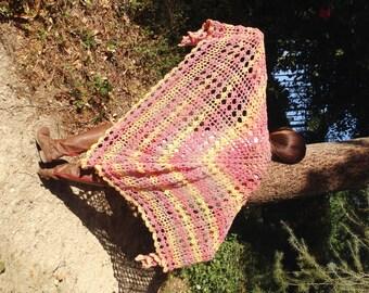 Knit Shawl ,knit Wrap, XL, Pastels,Peach, Raspberry, Blueberry,knit,wrap
