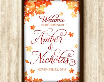 Fall Wedding Welcome Sign Printable - Autumn Leaves Wedding Sign - Typography Wedding Poster - Stag Doe Engagement Party | DIGITAL File Only