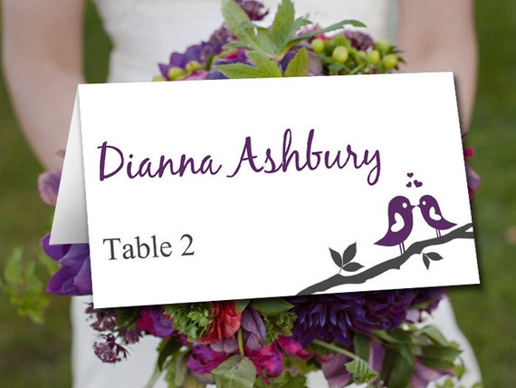 fold over wedding place card template by paintthedaydesigns. Black Bedroom Furniture Sets. Home Design Ideas