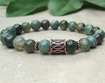 Green India Agate Stretch Bracelet, Yoga Jewelry, Spiritual Bracelet, Wrist Mala, Meditation Prayer Jewelry, Tibetan, Men's or Woman's