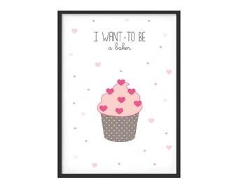 Graphic print for girl kidsroom, pink tones