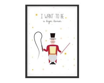 Graphic print for boy kidsroom, circus theme