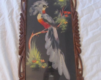 Vintage Carved Wood Framed Large Mexican Feather Art Exotic Bird Mixed Media Painting