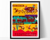 Disneyland Poster, Vintage Stage Coach Ride Attraction Poster, Nursery Art, Kids Playroom, , Home Decor, Wall Art Buy 2 Get 1 Free