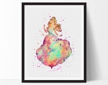 Belle, Beauty and the Beast Watercolor Art, Disney Princess Nursery Decor, Kids Room Decor, Bedroom Decor, Wall Art, Christmas Gift, No. 120