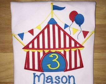 Circus Tent Shirt - embroidered shirt - Birthday Shirt
