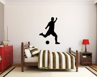 "Soccer Player Wall Decal - 39"" x 27"" Soccer Player Silhouette Vinyl Decal - Soccer Player 4"