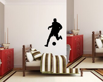 "Soccer Player Wall Decal - 43"" x 27"" Soccer Player Silhouette Vinyl Decal - Soccer Player 6"
