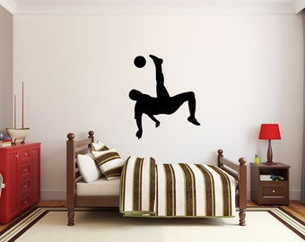 "Soccer Player Wall Decal - 32"" x 27"" Soccer Player Silhouette Vinyl Decal - Soccer Player 10"