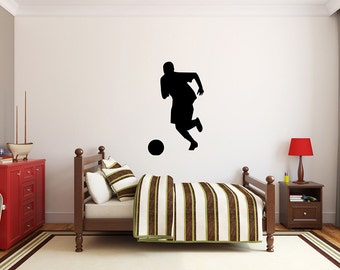"Soccer Player Wall Decal - 45"" x 27"" Soccer Player Silhouette Vinyl Decal - Soccer Player 11"