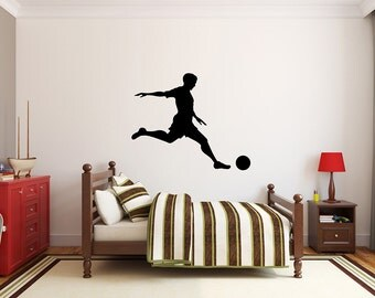 "Soccer Player Wall Decal - 27"" x 33"" Soccer Player Silhouette Vinyl Decal - Soccer Player 12"