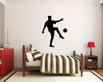 "Soccer Player Wall Decal - 34"" x 27"" Soccer Player Silhouette Vinyl Decal - Soccer Player 14"