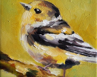 Original Oil Painting, Colorful Impressionist Bird On a Branch, Yellow Sparrow Painting 6x6 Inch