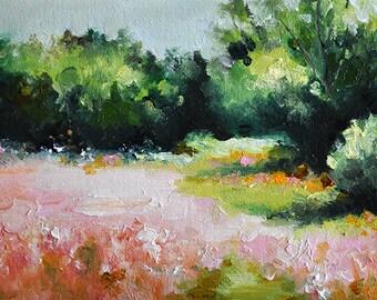 Original Oil Painting, Impressionist Landscape Painting, Colorful Impressionist Flower Field 5x7 Inch