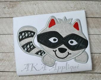 Bandit Raccoon Applique Embroidery Design