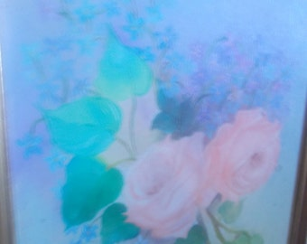 Beautiful pastel vintage painting, framed, wood frame, shabby chic, gorgeous, incredible colors