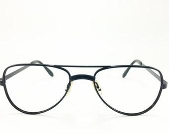 Vintage Aviator Eyeglasses | Matte Black 1980s Aviator Glasses | NOS 80s Vintage Deadstock Eyeglass Frame - Kinzo XX