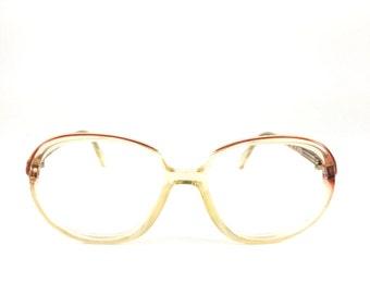 80s Vintage Eyeglass Frame   NOS Metzler Clear Red Glasses   1980s Oversize Round Eyeglasses  - Deena XX