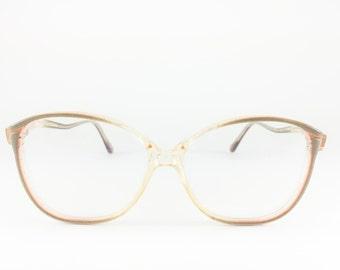 Vintage 1980s Translucent Shimmering Grey Colorblock Eyeglass Frame - Polaris