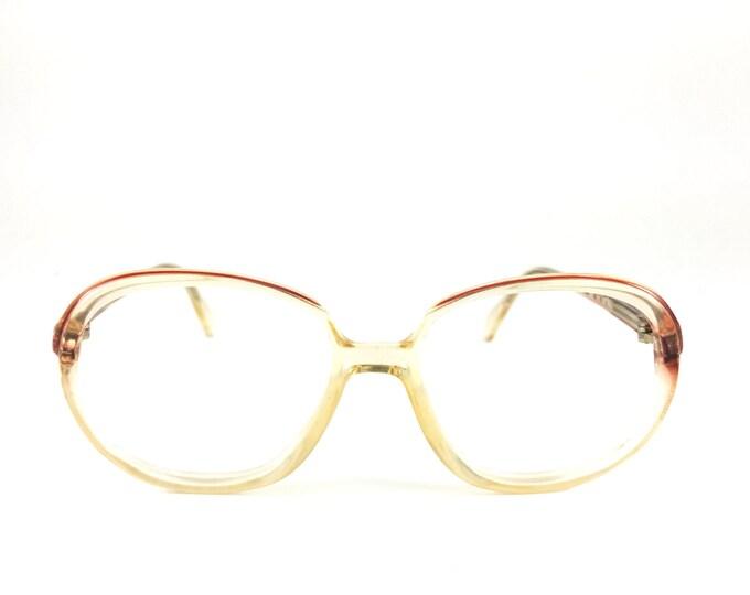 80s Vintage Eyeglass Frame | NOS Metzler Clear Red Glasses | 1980s Oversize Round Eyeglasses  - Deena XX