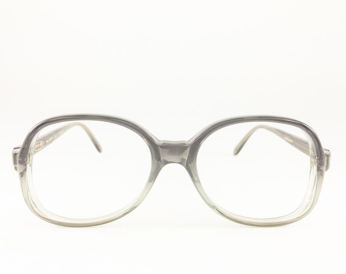 Vintage Glasses | Clear Grey Oversized Round 80s Eyeglass Frame | NOS 1980s Eyeglasses - Cunard XX