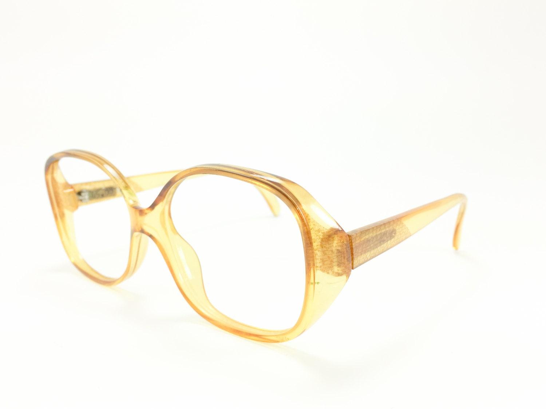 vintage 80s glasses nos clear oversize yellow eyeglass frame 1980s pattern temple detail eyeglasses 3062 - Yellow Eyeglass Frames