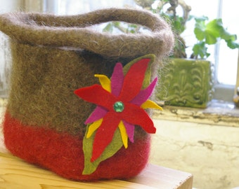 Felted Handbag with top handles, Two Tone, Brown and Red
