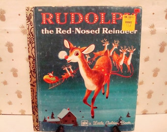 """Vintage """"Rudolph the Red-Nosed Reindeer"""" Hardcover Book - Circa 1976 - A Little Golden Book - Excellent Condition!!"""