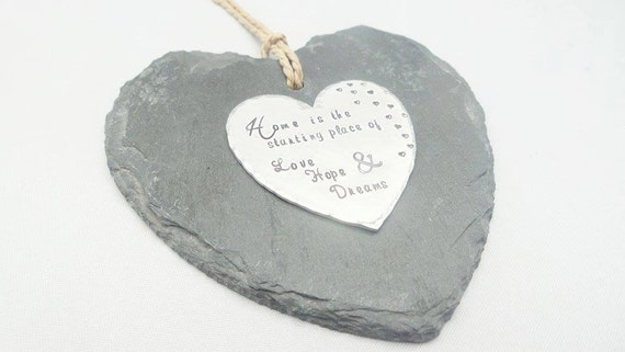 Slate hanging heart decoration, decorative handstamped personalised Love Hope Dreams