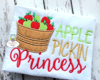 Apple Pickin Princess Shirt or Bodysuit, Apple Picking Shirt, Apple Orchard Shirt, Apple Shirt, Apple Pickin Princess, Girl Apple Shirt