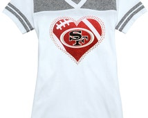 San Francisco 49ers Rhinestone Glitter Bling T-shirt - Juniors Varsity Vneck - White & Heather Grey