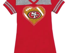 San Francisco 49ers Rhinestone Glitter Bling T-shirt - Juniors Varsity Vneck - Red & Heather Grey