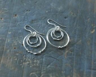 Triple Circle Silver Wire Earrings