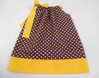 Pillowcase Dress /Infant/ Toddler  LSU Purple and Gold Dot