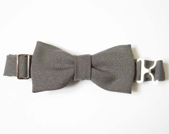 Adjustable Toddler Bow Tie - Slate Gray Satin (matte)