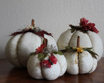 Handcrafted Fall Pumpkins - White