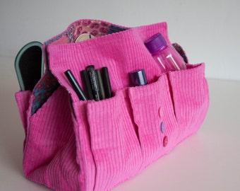 Pink Corduroy Storage Bag, Cosmetic Organizer, Six Pocket Tissue Box, Makeup Organizer Bag, Storage bag with Button details, Napkin holder