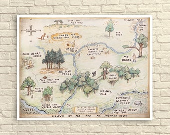 Classic Winnie The Pooh, Classic Winnie the Pooh Wall Art, 100 Acre Wood Map, Nursery Art, Nursery Decor, Children's Wall Art.