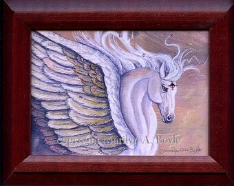 PRINT- FRAMED - FANTASY; 5 x 7 inch, Pegasus, embellished with sparkle and a tiny gem, miniature art, wall art, ready to hang,