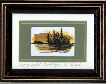 ORIGINAL MINIATURE - ACEO Framed; scene, on birch bark, acrylic,  sunset, trees silhouetted against sky, wall art, 5 x 7 inch wood frame.