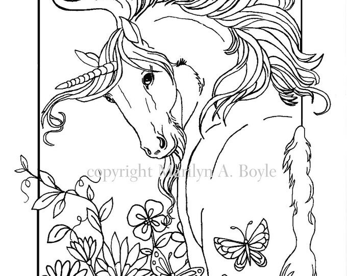 ADULT COLORING PAGE Digital Download Unicorn Flowers Butterfly Garden Fantasy