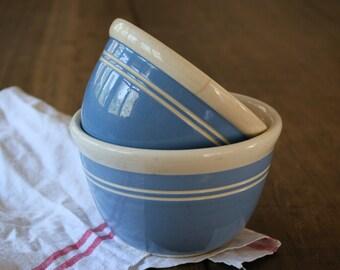 Set Bakewells Blue Bowls White Stripe Ceramic Mixing Bowl Small and Medium Size Blue and White Stoneware Kitchenalia Food Photography Prop