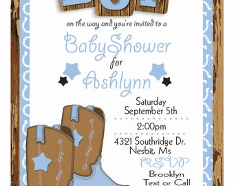 Custom Cowboy Baby Shower Invitation