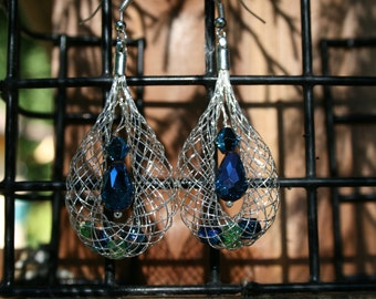Netted Crystal and Glass Earrings